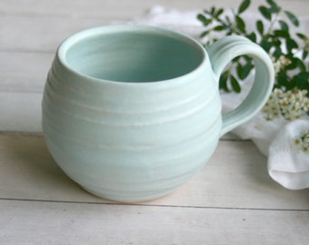 """Light Blue Pottery Mug in Matte Glaze Handmade Stoneware Pottery 16 oz. Coffee Cup Discounted """"Second"""" Ready to Ship Made in USA"""