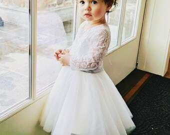 Long Sleeves Light Ivory Flower Girl Dress Lace Tulle Flower Girl Dress With Silver Sash/Bows Floor-length