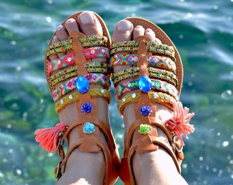 Boho sandals, Gladiator Leather Sandals, Handmade Sandals, Bohemian Sandals, Hippie Sandals ''Ocean Blue''