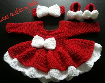 Items Similar To Pink And White Baby Girl Crochet Dress With