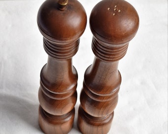 "Vintage  10-1/4"" Tall Wooden Salt and Pepper shakers"