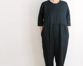 Black Linen Everday Jumpsuit. Jumpsuit. Loose Fit Oversized. Black Jumpsuit. 3/4 Sleeves.