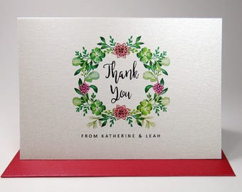 Personalized Thank You Note Card Set /  Wedding Thank You Cards / Set of 10 Folded Shimmer Note Cards - T205
