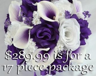 Wedding Bouquet, Silk Flower Bouquet, Wedding Flowers, Bouquet Wedding, Bridal Bouquet, Flower bouquet, Bouquet Set, Purple, Lily of Angeles