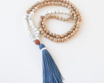 Navy Blue, Mala Necklace, Natural Mala Beads, Beach Mala, Tassel, Australia, Howlite, Light Sandalwood, Gemstone Mala, Yoga Jewellery
