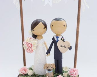 custom wedding cake topper - with bunting