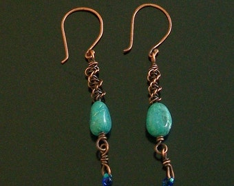 Chrysacolla & Copper Dangle with Wire Macrame Southwest or Boho Style Earrings by Carol Wilson of Je t'adorn