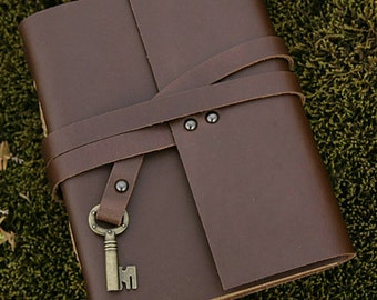 leather journal with vintage key  metal button, blank  notebook ,longstich handbound,unique gift wedding guest book / Sketchbook / Diary