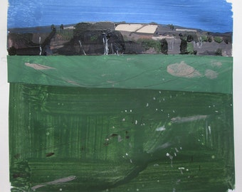 Hill Fields, Original Spring Landscape Collage Painting on Paper, Stooshinoff
