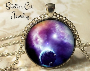 "Purple Nebula Pendant - 1-1/4"" Round Necklace or Key Ring - Wearable Photo Art Jewelry - Universe, Galaxy, Space, Science, Outer Space Gift"