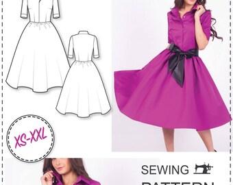 Shirt Dress Pattern - Sewing Patterns - Circle Skirt Dress Pattern - Dress Sewing Pattern - Sewing Tutorial - Fashion Patterns - Sew Pattern