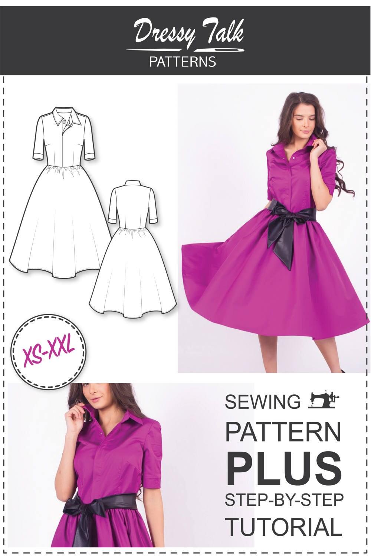 Shirt dress pattern sewing patterns circle skirt dress zoom jeuxipadfo Gallery