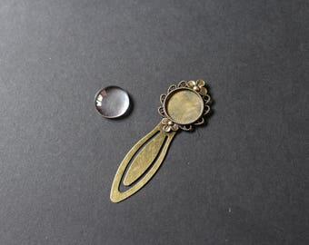 Kit flower bookmark / 20 mm bronze cabochon
