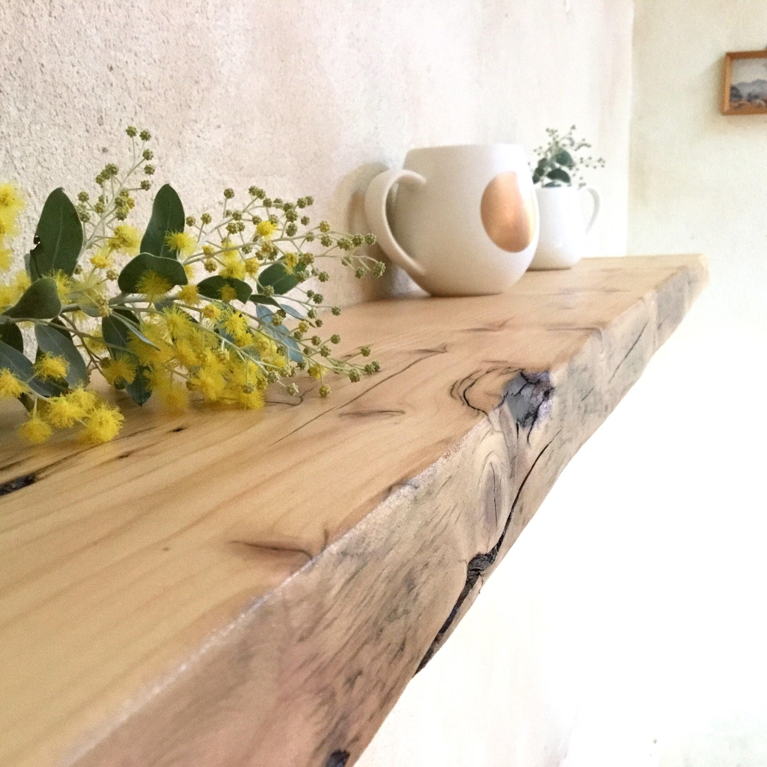Timber Kitchen Shelves: Floating Wood Shelves Recycled Timber Reclaimed Kitchen