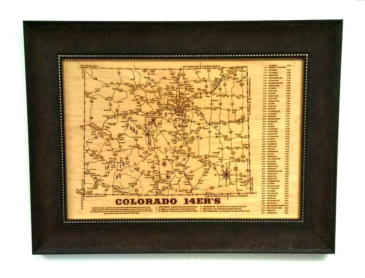 COLORADO 14er\'s Picture Frame, Maple, Laser Engraved