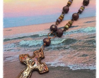 Sunset Copper Cross Necklace, Czech Glass Beads, PMC, Initial, Heart, Statement, NC,Wire Wrap, Copper