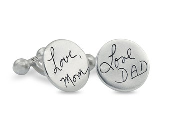 Handwriting signature cuff links - Personalized Wedding Gifts - memorial engraved cuff links in silver - memorial gift (up to 10 letters)