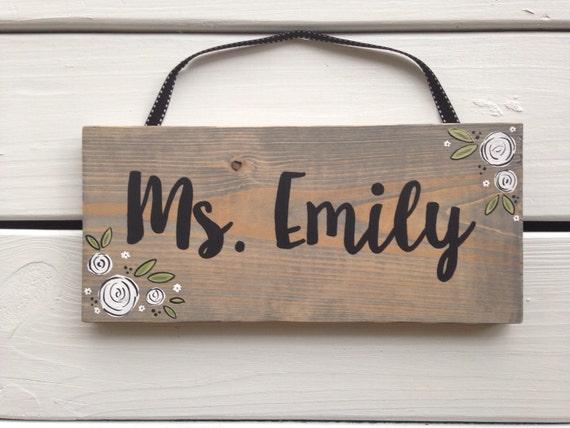 Wooden teacher door hanger wooden door sign teacher name