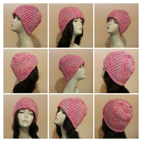 Chunky Loom Knitted Beanie Hat Loom Knit Beanie Hat Hand a04187c7af8