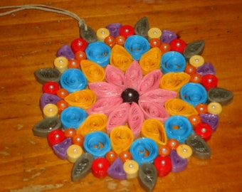 COLORFUL BOHiEMiAN Handmade PAPER QUiLLED ORNAMENT Micro Pearls GiFT HOLiDAY SPRiNG CHRiSTMAS FRiENDSHiP Mothers Day