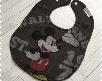 Mickey Mouse Recycled T-Shirt Bib, Disney Baby Shower, Disney Baby, Mickey Mouse Baby, Baby Shower Gift, Baby Boy