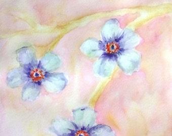 Aquarelle painting, Watercolor flowers painting, Floral watercolor, Small wall art decor, Small painting, Watercolor artwork, Original art