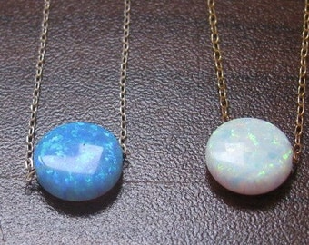 opal necklace, opal coin necklace, disc opal necklace, white opal necklace, blue opal, delicate opal necklace, opal jewelry, bridesmaid gift