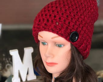 Knit slouchy hat for adult