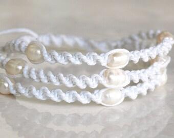 Macrame Pearl Bracelet, Boho Wedding Bracelet, Beach Wedding Bracelet