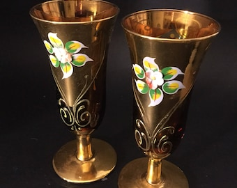 2 vintage Amber handpainted fluted glass.Small handpainted vases.