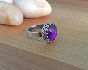 Amethyst Ring Sterling Silver Fancy Bezel Ring Oxidized Silver Gothic Goth Jewelry February Birthstone Ring Birthstone Jewelry Purple Gem