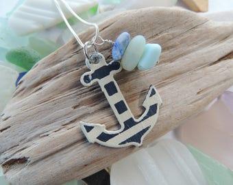 English Sea Glass And Milk Glass Anchor Necklace, Authentic Sea Glass, Opalescent Sea Glass, Milk Glass