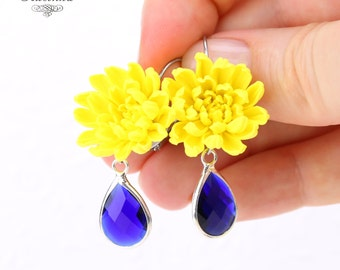 Yellow Chrysanthemum flower with blue glass Earrings Chrysanthemum earrings Yellow chrysanthemums Golden-daisy flower Hypoallergenic base