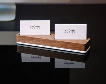 Wood Business Card Stand for Horizontal Cards placed at angle/ Wood Business Card Display / Walnut Wood Business Card Holder