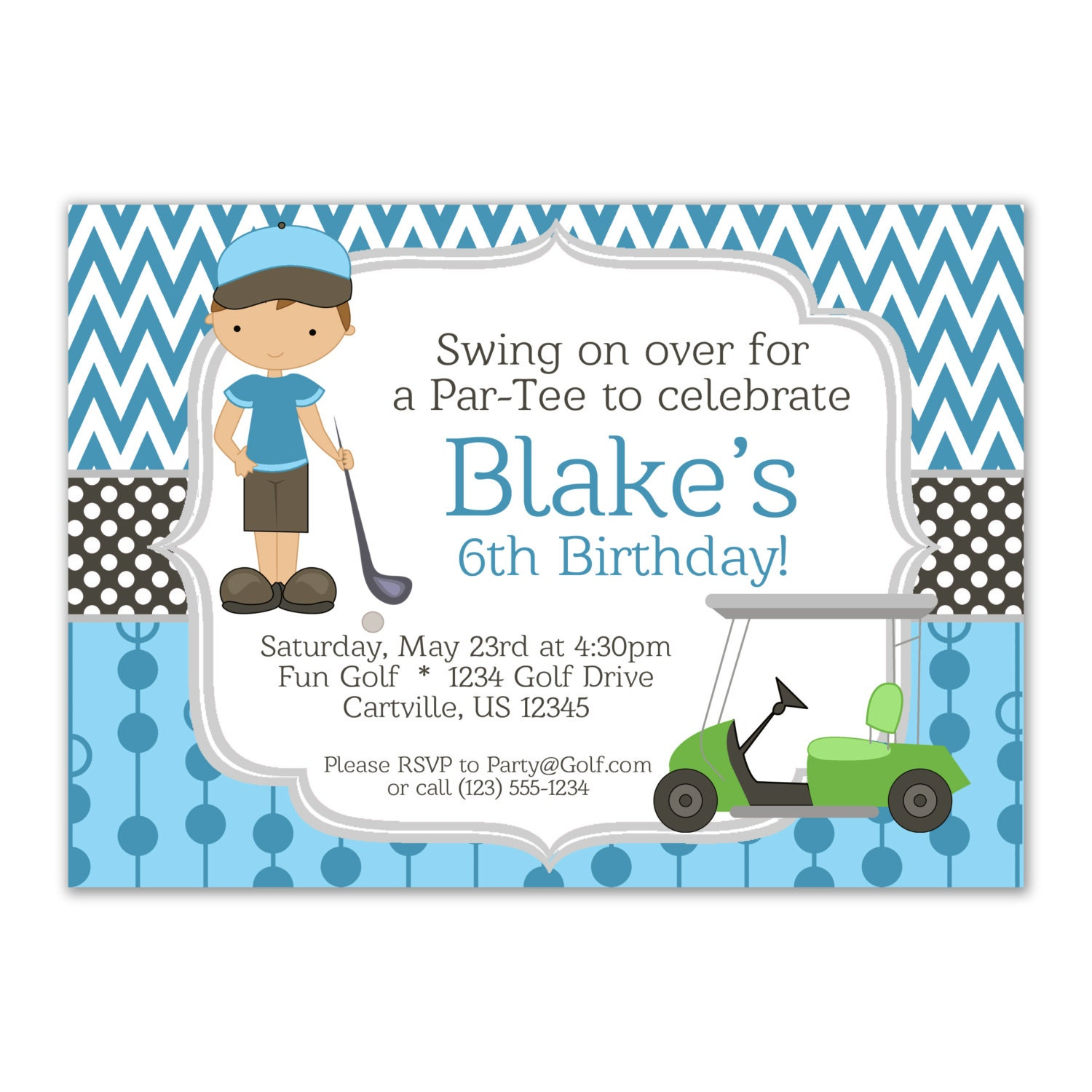 Golf invitation blue chevron and boy golfer with a lime zoom filmwisefo