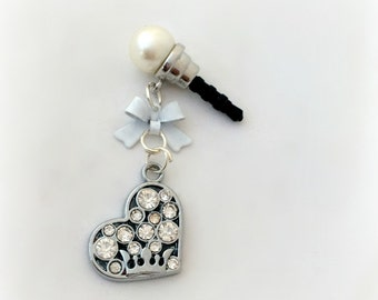 Rhinestone heart phone plug charm, white Princess iPhone dust plug charm, crowned heart romantic accessory