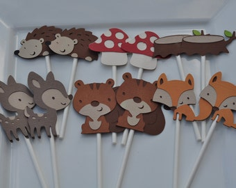 Woodland themed, birthday or baby shower cupcake toppers set of 12