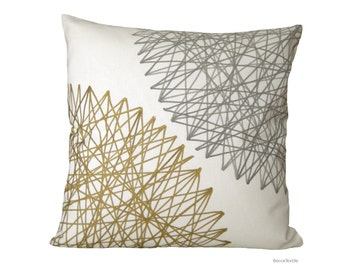 Gray and gold cushion, Geometric pillow, Designer Fabric BeccaTextile.