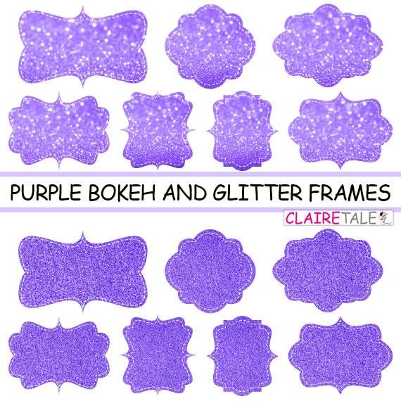 """Digital clipart labels: """"PURPLE  BOKEH & GLITTER frames"""" bokeh and glitter clipart frames, labels, tags on purple background"""