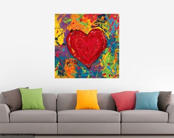 Heart art, Modern wall art, Lovers art, Sweatheart wall art, Big red Heart,  metal prints,  Johno Prascak, Johnos Art Studio