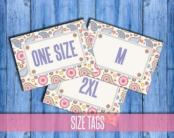 Paisley SIZE Cards - Size Tags - Size Cards - Business - Marketing - Hanger Tags - Pricing Name Cards - Newly Released - Instant Download