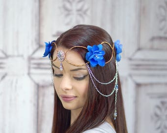 Elven Crown, Elven Headdress, Blue Elven Flower Crown with Silver Detail, Fantasy Headpiece, Headdress, Cosplay, Costume Headpiece, Fairy