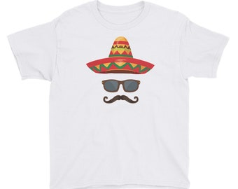 Cinco De Mayo Youth Short Sleeve T-Shirt // Decor De Mayo Party Shirt // Holiday Festival Party T Shirt // Cool Suave Mustache Tee