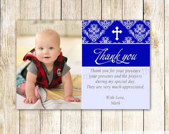 Boy Baptism Thank You Card Boy Communion Thank You Note - First Communion Photo Card Royal Blue Christening Thank You Card Printable
