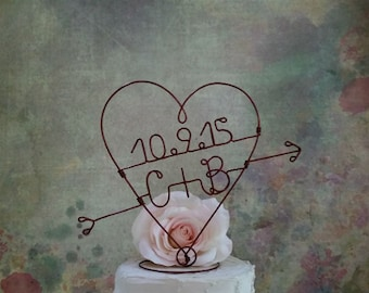 HEART and ARROW Cake Topper, Monogram Wedding Cake Topper, Rustic Weddings Centerpiece, Engagement Party Decoration, Bridal Shower