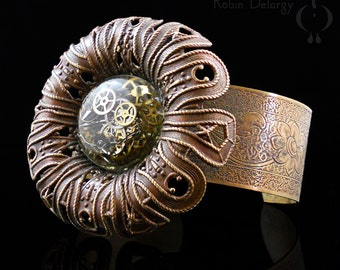 Steampunk Flower LARGE CUFF Bracelet Floral Brass Watch Parts Gears Ice Resin Chain Hand Patina Big Wrist B0077 by Robin Taylor Delargy RTD