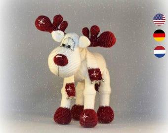 PDF pattern Rudolph the Reindeer, English, Dutch and German, amigurumi reindeer, christmas crochet reindeer pattern, christmas decoration