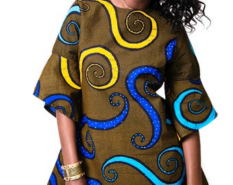 LABA Ankara Shift dress with 3/4 bell sleeves