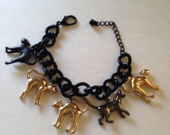 On Sale Cat Large Chunky Retro Black Charm Bracelet
