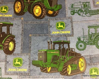 John Deere Fabric By the Yard or Half Yard Big Farm Tractor Fabric with Tractors Green Yellow Blue Cotton Quilting Fabric wt4/18